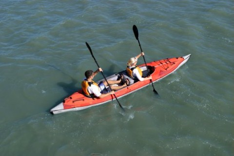 an inflatable tandem kayak