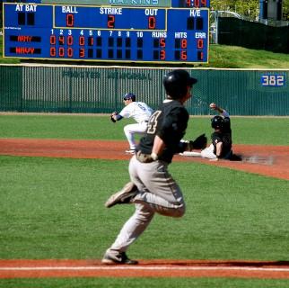 a baseball player runs