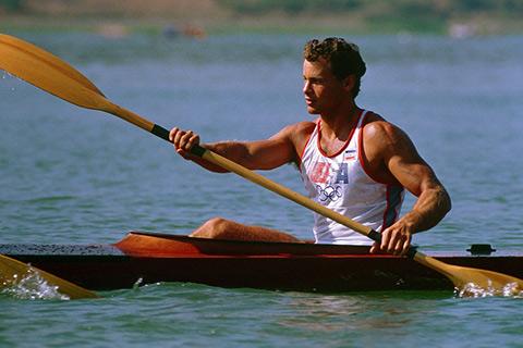 Man with Kayak Paddle
