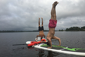 Yoga Excercise on Paddle Board